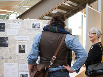 Killam Predoctoral Laureate Benjamin Blyth, English (left) discussing his research on Shakespeare