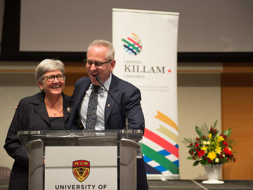 Dru Marshall, provost and vice-president (academic), and Ed McCauley, vice-president (research) address the Killam Laureates and guests