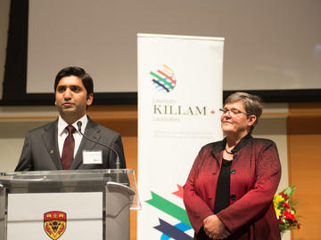 Second-year Killam Predoctoral Laureate Muhammad Omer, Electrical and Computer Engineering, with Dr. Lisa Young, vice provost and dean, Faculty of Graduate Studies