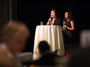 Emcees Anamim Letta and Katherine Liu welcomed guests to the 2019 Sustainability Awards Ceremony.