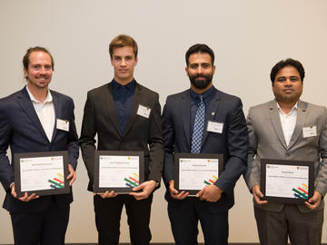From left to right, Killam Postdoctoral Laureates: Dr. Michael Asmussen, Kinesiology; Dr. Jean-Baptiste Cavin, Cumming School of Medicine; Dr. Daniel Oloumi, Schulich School of Engineering; Dr. Tanaji More, Schulich School of Engineering