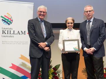 Killam Predoctoral Laureate Rania Sayed Eid, Civil Engineering, with Killam Trustee Kevin Lynch (left) and Dr. Ed McCauley, vice-president (research)