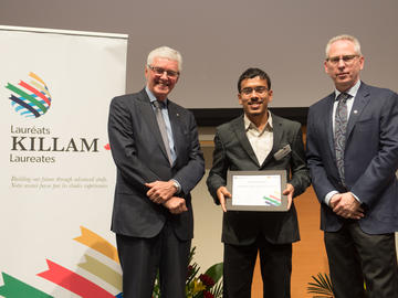 Killam Predoctoral Laureate Sumit Goswami, Physics and Astronomy, with Killam Trustee Kevin Lynch (left) and Dr. Ed McCauley, vice-president (research)