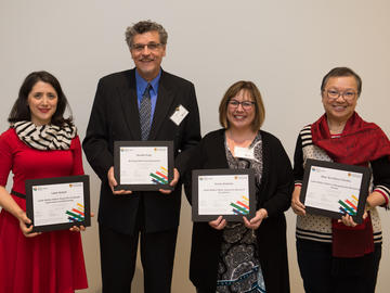 This year's teaching and research award winners include, from left to right, Dr. Laleh Behjat, Schulich School of Engineering, Dr. Ron Hugo, Dr. Susan Graham, and Dr. Mayi Arcellana-Panlilio, Cumming School of Medicine.