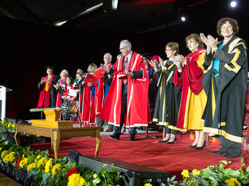 Students, faculty, and staff attend the installation ceremony of Dr. Edward McCauley as the 9th President and Vice-Chancellor of the University of Calgary on Monday, April 8, 2019.