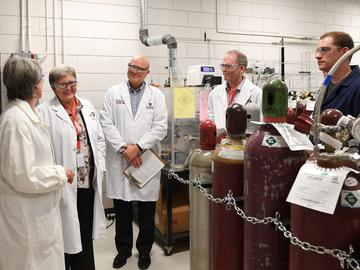 Many faculties rely heavily on health and safety for day-to-day work and learning. Dr. Josephine Hill, Dr. Dru Marshall, Mike Leaist, Dr. Anders Nygren and PhD candidate Ross Arnold took a tour of the engineering to witness it firsthand.