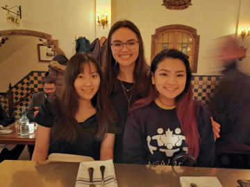 Athena Liu, Jennifer Bohn and Jenna Nguyen enjoying dinner in downtown Montreal after a long day at the national conference.