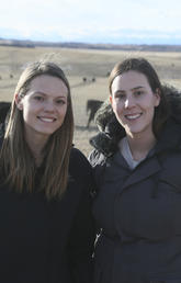 Jackelyn Elgert, left, and Emma Jackson get the lay of the ranch land on their first visit to W.A. Ranches.