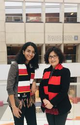 University of Calgary engineering student Caroline Dawoud and associate dean Qiao Sun.