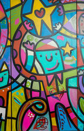 colourful mural of cartoon people