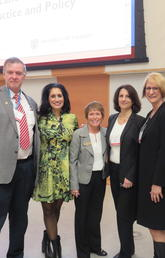 Among those attending the conference at the University of Calgary were, from left: Chris Wilkes, professor, Cumming School of Medicine; Leela Aher, MLA, Chestermere-Rocky View; Jacqueline Smith, assistant professor, Faculty of Nursing; Amelia Arria, associate professor, University of Maryland School of Public Health; Dianne Tapp, dean, Faculty of Nursing; and Ken Winters, senior scientist, Oregon Research Institute.