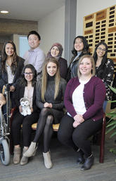 A research group from the Cumming School of Medicine known as the WolbPack encourages undergraduate students to pursue research opportunities. Current and alumni members include, back row, from left: Farwa Naqvi, Lucy Diep, Nicole Mfoafo-M'Carthy, Valentina Villamil, Wentao Li, Bushra Abdullah, Rochelle Deloria, Sadia Ahmed, Aspen Lilywhite. Front, from left: Gregor Wolbring, Manel Djebrouni, Aryn Lisitza and Kalie Mosig. Photos by Pauline Zulueta, Cumming School of Medicine
