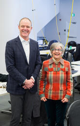 Councillor Druh Farrell, right, toured the new City Building Design Lab with John Brown, dean of the newly named School of Architecture, Planning and Landscape. Photo by Riley Brandt, University of Calgary