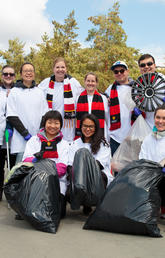 More than 16 teams registered to participate in this year's Campus Cleanup and Barbecue, including the Schulich School of Engineering, who found one of the wackiest items of the day — a hubcap. Photos by Riley Brandt, University of Calgary