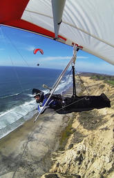 John Janssen soaring on the California coast.