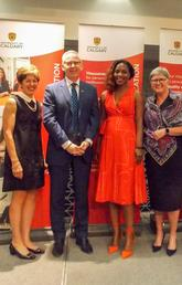 At the Continuing Education graduation ceremony June 12, from left: Chancellor Deborah Yedlin, President Ed McCauley, Mariama Barry, Provost Dru Marshall, Continuing Education director Sheila LeBlanc, and UCalgary senators Jackie Engstrom and Tim Meagher. Photo by Continuing Education Staff