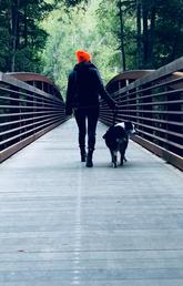 Walking the dog on a bridge