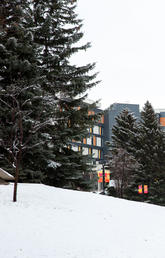 The University of Calgary campus in December 2020 after a light snow fall.