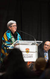 Dru Marshall speaks at two-year anniversary of UCalgary's Indigenous Strategy, ii' taa'poh'to'p.