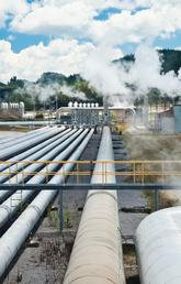 Geothermal plant and pipelines