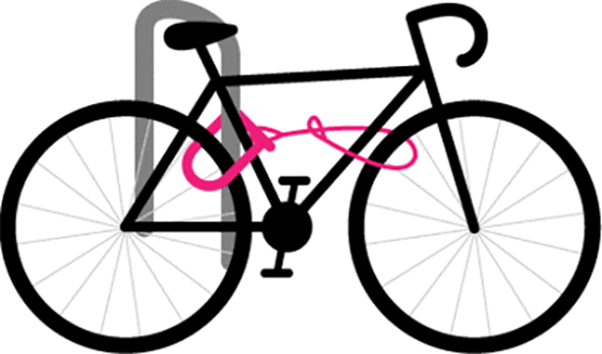 An illustration of a bike locked with a U-Lock.