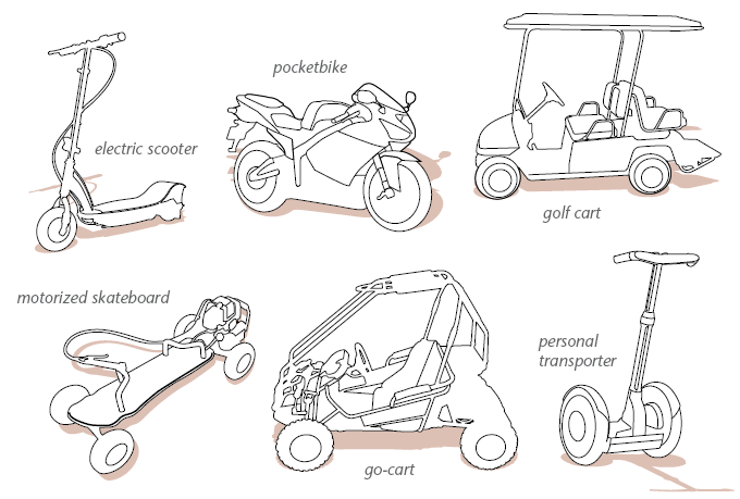 Go-cart, scooter, skateboard, pocketbike, golf cart, and personal transporter