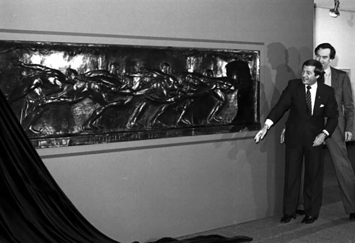 Unveiling of the 1925 bronze frieze Brothers of the Wind by Robert Tait McKenzie, which hangs in the main stairwell of the Olympic Oval lobby